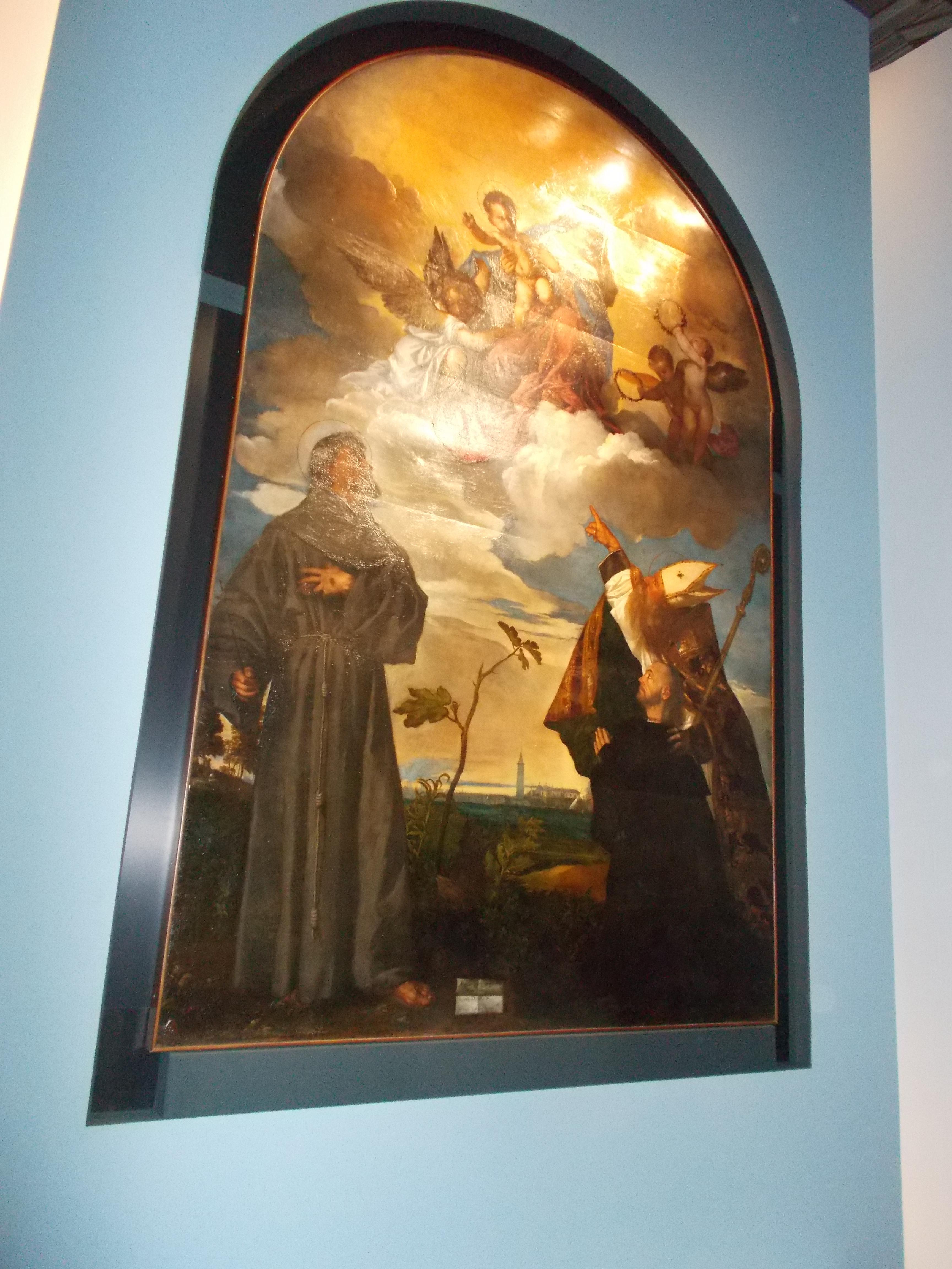 sbigottiti la visione San Francesco a cui era dedicata la Chiesa che ospitava la Pala e San Biagio vescovo e protettore della citt dalmata
